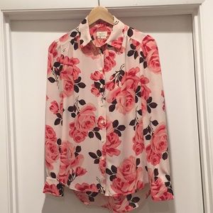 Kate Spade pink and red floral button-down blouse